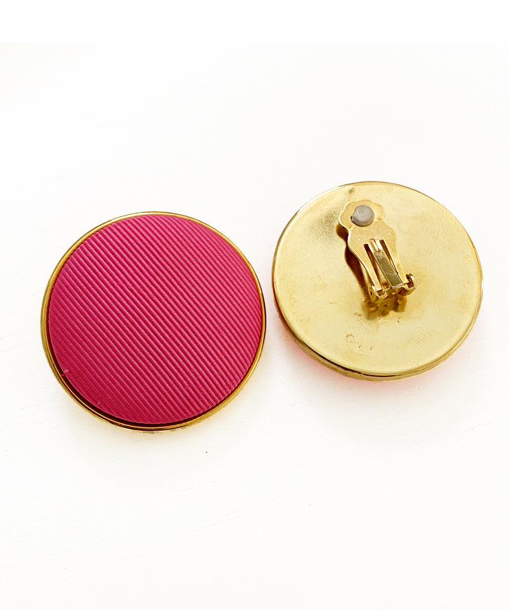 Vintage Pink Gros Grain Earrings