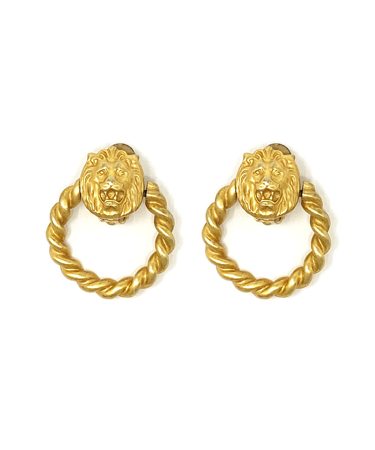 Vintage Lion Doorknocker Earrings