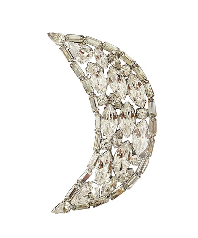 Rhinestone Moon Brooch