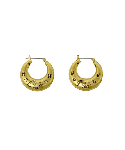 Zodiac Mini Hoop Earrings (Pisces)