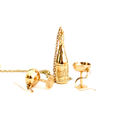 Vintage Champagne Toasting Set - Necklace & Earrings