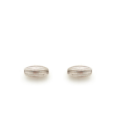 Rice Bead Stud Earrings (Shiny Silver)