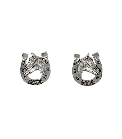 Lucky Horseshoe Earrings (Vintage Silver)
