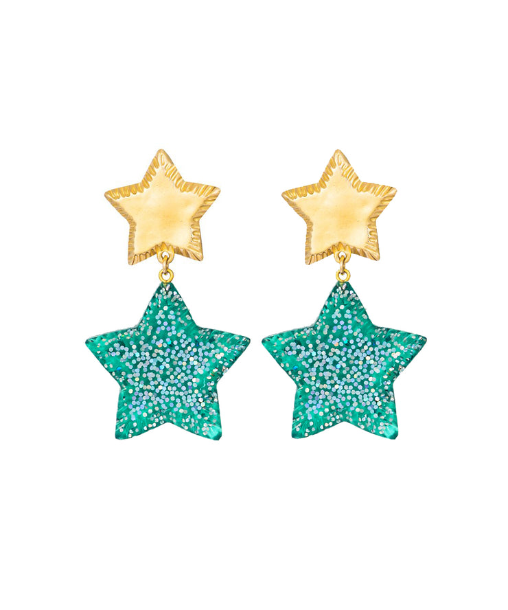 Starry Night Earrings (Glitter Green)