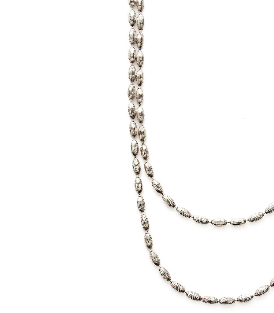 Charleston Rice Bead Necklace Vintage Silver