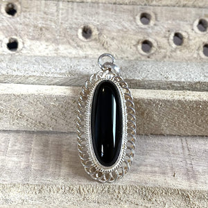 Black Akik Pendant for men and women | S925K | Dark Black Yemeni Aqeeq Stone Pendant | Black Aqeeq Yemeni | AlAliGems - AlAliGems