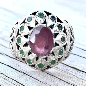 Handmade Persian Ring | AlAliGems | Ruby / 12 Emeralds | Silver 925 | US Size 10.5