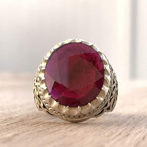 Handmade Ruby Rings | AlAliGems | Ruby Vintage Ring Red Real Ruby Stone | Hand Crafted Size 11 - AlAliGems