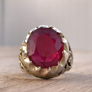 Handmade Ruby Rings | AlAliGems | Ruby Vintage Ring Red Real Ruby Stone | Ruby and Emerald Ring Size 10