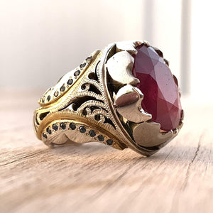 Handmade Ruby Rings | AlAliGems | Ruby Vintage Ring Red Real Ruby Stone | Ruby and Sapphire Ring Size 10