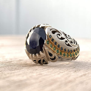 Handmade Silver Ring For Men | Sapphire Rings | AlAliGems | Neelam Ring And Emerald | Fully Hand Hammered Size 10