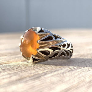Honey Aqeeq Stone Sterling Silver Mens Ring | Yemeni Honey Aqeeq Handmade S925 | AlAliGems Size 10 - AlAliGems