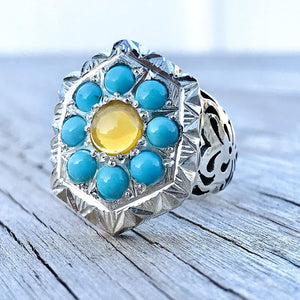 Opal Ring | Persian Turquoise Ring Jewelry | Neyshabur Turquoise Rings | Sterling Silver US Size 12 | Persian Rings | Natural Turquoise | Feroza Stone Ring | Feroza