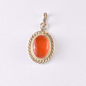 Orange Aqeeq Pendent for men and women | Sterling Silver 925K | Orange Yemeni Aqeeq Stone Pendent - AlAliGems