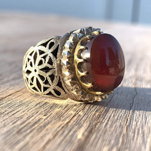Red Aqeeq Ring For Men | Yemeni Aqeeq Ring | Plain Red Aqeeq | Fully Handmade S925 | US Size 11 - AlAliGems