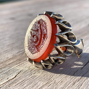 Red Aqeeq Ring Men | Yemeni Aqeeq Ring | Engraved Ya Mahdi | Red Liver Aqeeq | AlAliGems | US Size 9 - AlAliGems