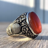 Red Aqeeq Ring Men | Yemeni Aqeeq Ring | Plain Red Aqeeq | Fully Hand Engraved Imam Hussain Shrine | US Size 11 - AlAliGems