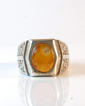 Yemeni Aqeeq Ring for men | AlAliGems | Orange Aqeeq Stone Serling Silver Ring US Size 10.5 - AlAliGems
