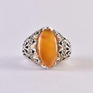Yemeni Aqeeq Ring for men | AlAliGems | Orange Aqeeq Stone Serling Silver Ring US Size 10 - AlAliGems