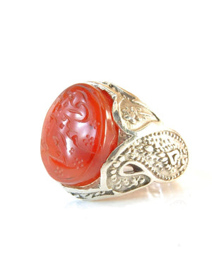 Yemeni Aqeeq Ring for men | AlAliGems | Orange Aqeeq Stone Serling Silver Ring US Size 11 - AlAliGems