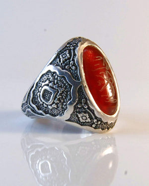 Yemeni Aqeeq Ring for Men | AlAliGems | Red Aqeeq Stone Engaved | US Size 11.5 - AlAliGems