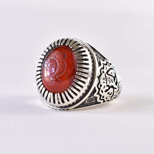 Yemeni Aqeeq Ring for Men | AlAliGems | Red Aqeeq Stone Engaved | US Size 12 - AlAliGems