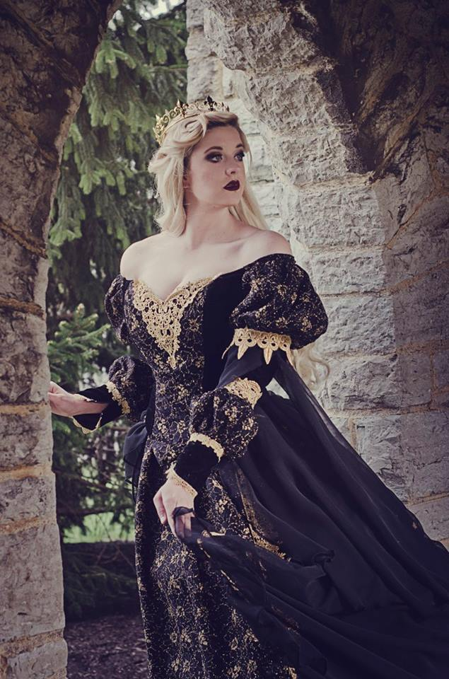 Red/Gold Sleeping Beauty Gown Velvet, Lace and Chiffon