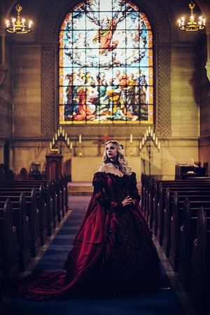 Red/black Gothic Sleeping Beauty Alternative Wedding Gown