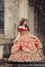 Red/Gold Upscale Fantasy Belle Gown with Flowers