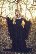Gothic Black Gwendolyn Velvet and Lace Gown