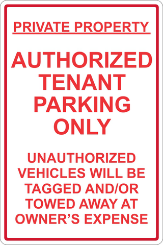 Authorized Tenant parking