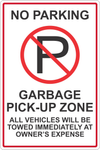 No Parking Garbage Pickup Zone