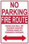No Parking Fire Route