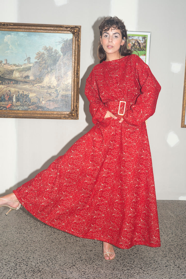 Red Choir Coat Frock Wool Brocade
