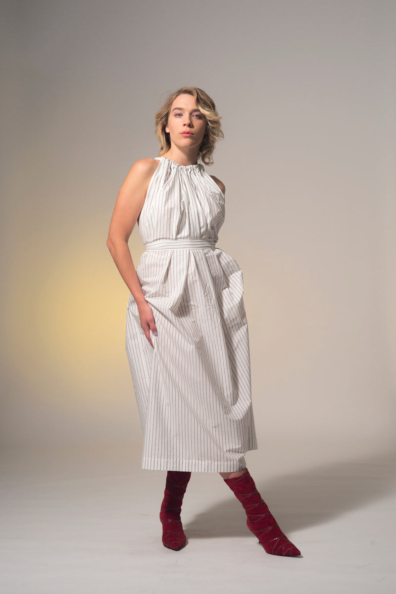Little Wonder Dress Cotton Pinstripe