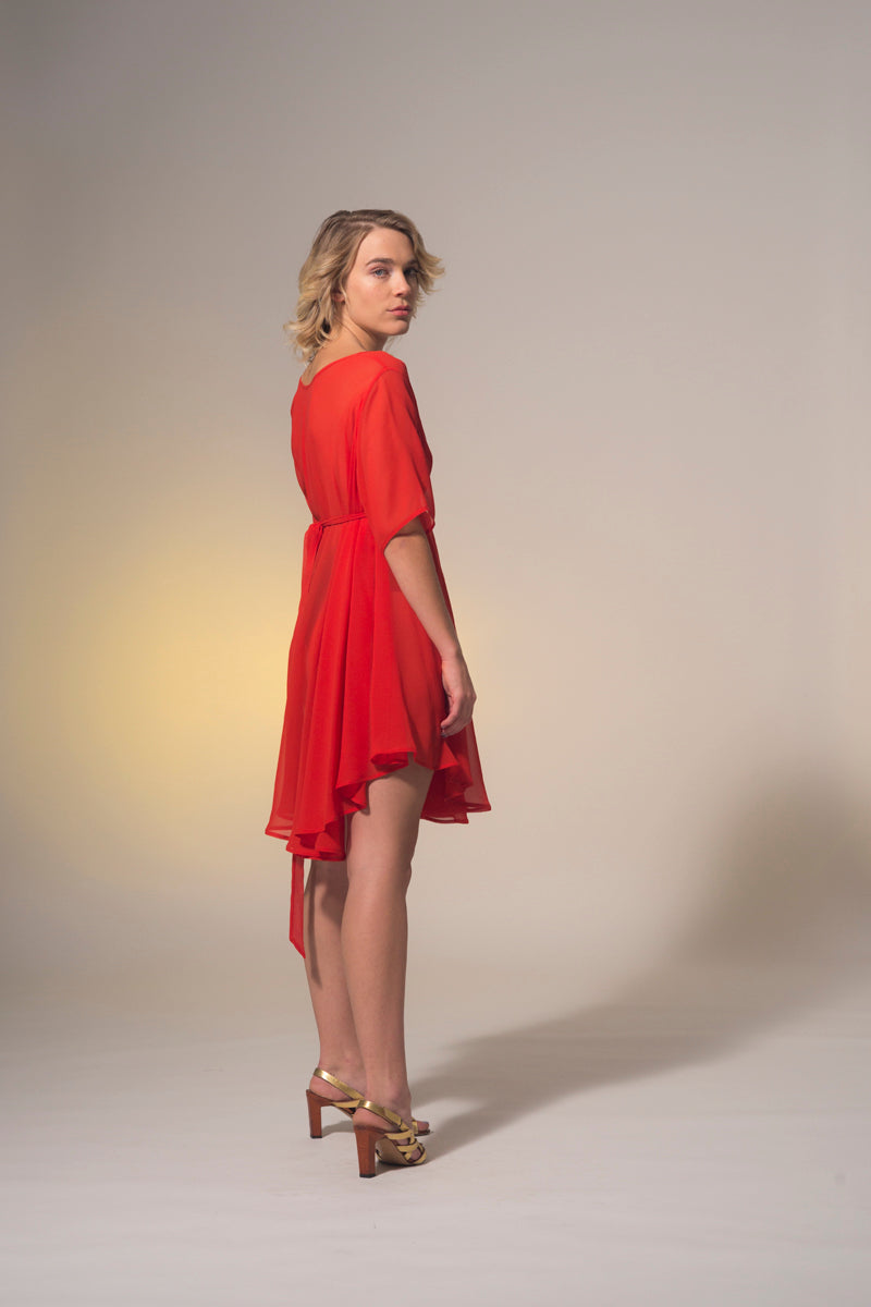 Rise Dress Sheer Red