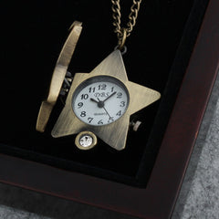 Diamond Lucky Star Antique Quartz Pocket Watch Pendant Necklace
