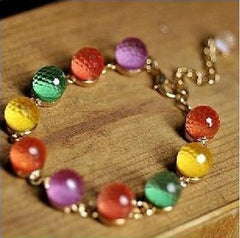 Crystal Beaded Colorful Rainbow Candy Bracelet Gold Link Chain Fashion Bangle
