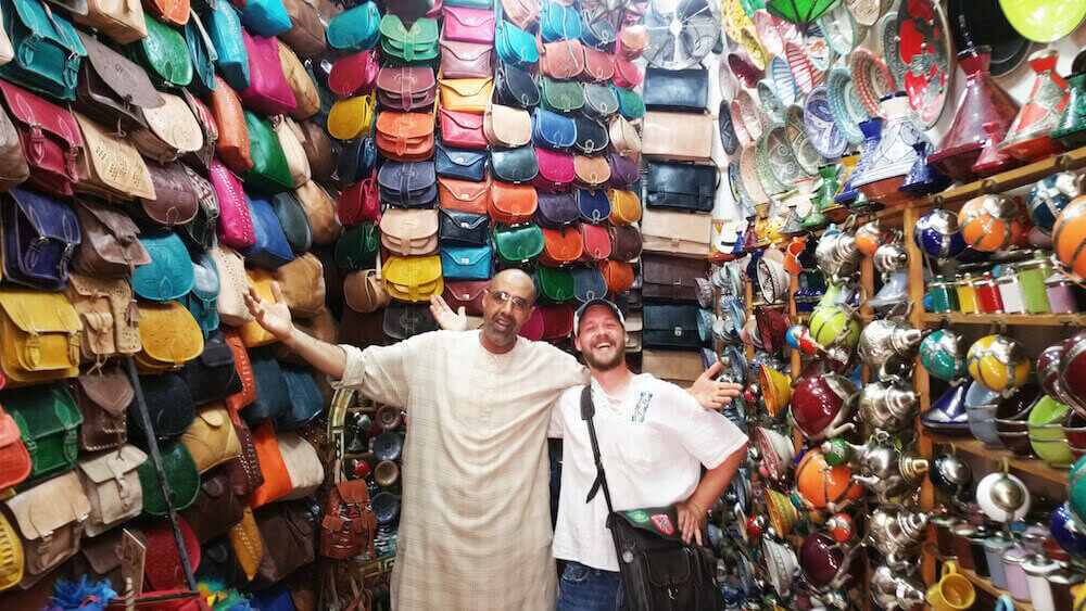 adam french in a souk in marrakech