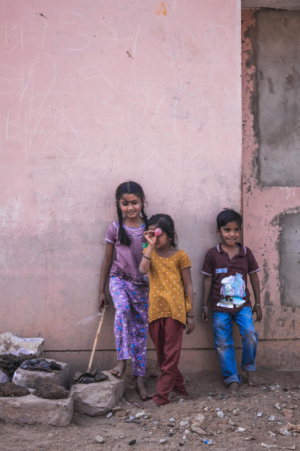 Kids playing in the streets of  Kutch