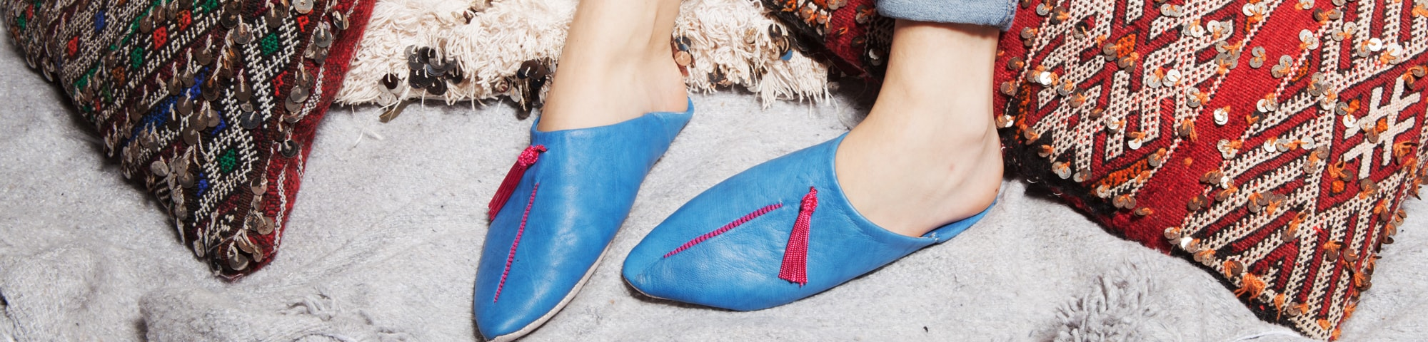 MOROCCAN LEATHER FUNKY BABOUCHE  All Sizes BLUE /& GREY HAND CRAFTED