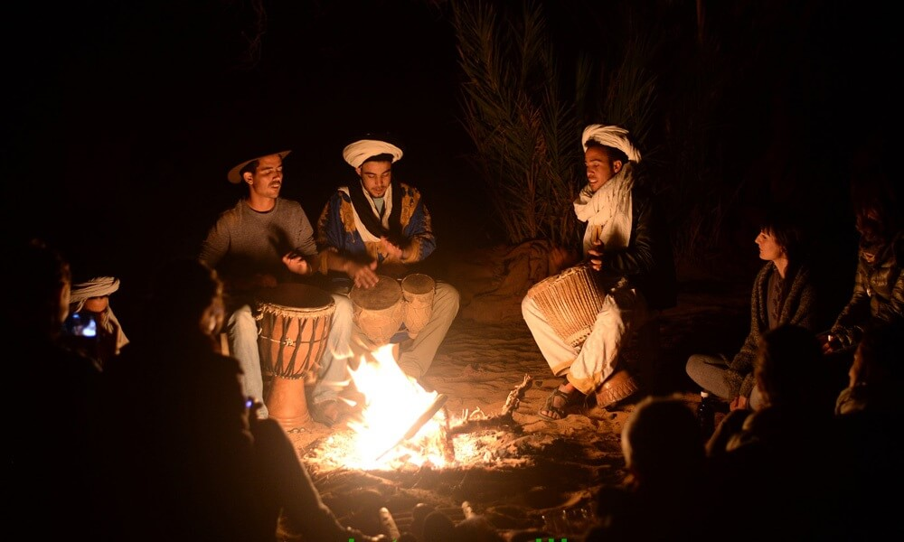 rockers in the moroccan desert at night