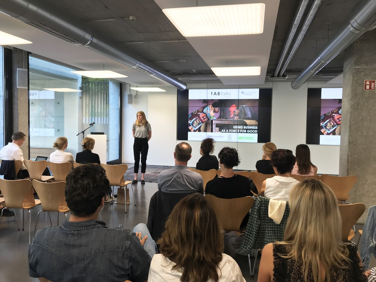 picture of janneke from b corp speaking in front of the audience