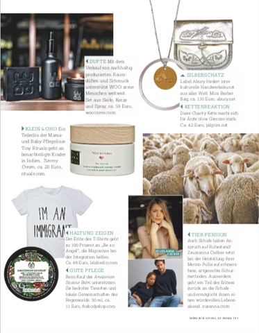 LIVING AT HOME MAGAZINE_CHARITY_MARCH 2019_ABURY_SUSTAINABLE FASHION_HANDMADE LEATHER MINI BERBER BAG