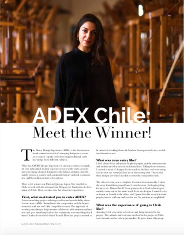ELUXE MAGAZINE ISSUE 17 FEBRUARY 2019 ABURY DESIGN EXPERIENCE ADEX 2018 PATRICIA QUIROGA LOPEZ HANDMADE CHILEAN FASHION ALPACA WOOL