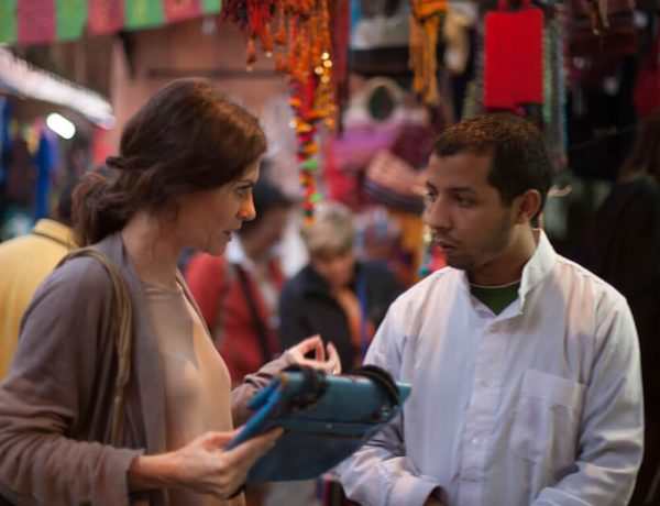 andrea bury in a souk in morocco