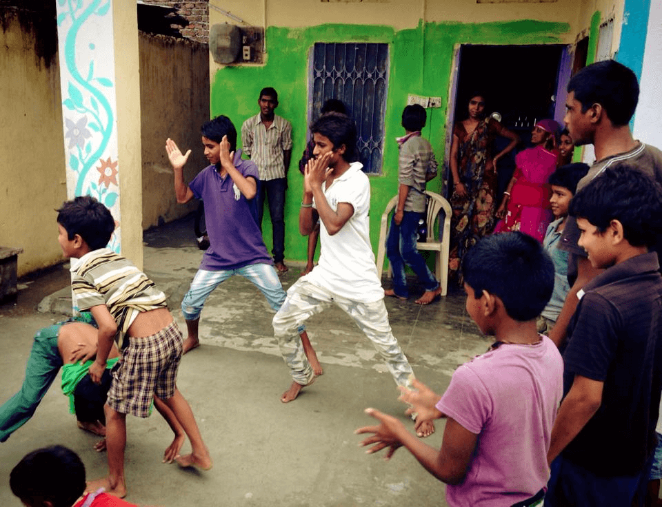 Dancing kids in the streets of Udaipur