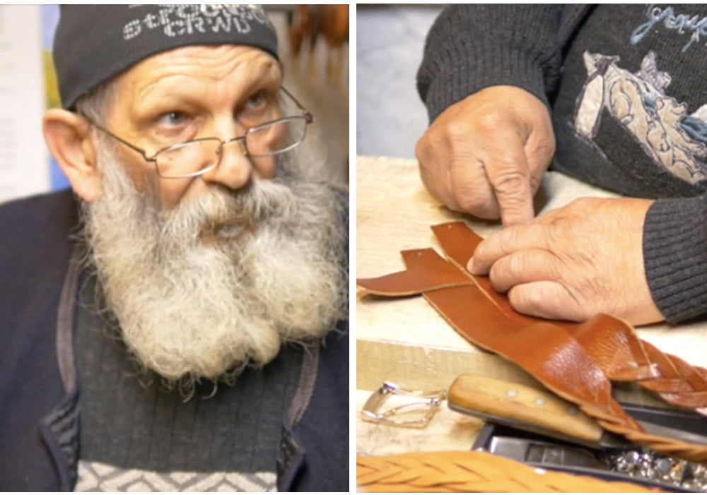 picture of an artisan confectioning a piece with leather