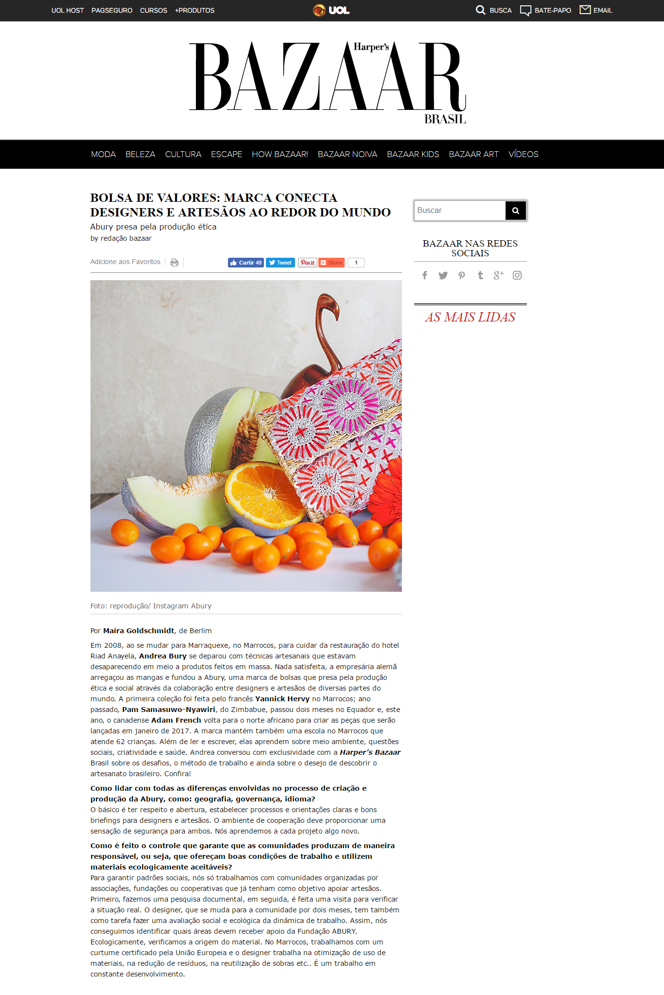 ABURY featured in Harper's Bazaar Brasil Blog