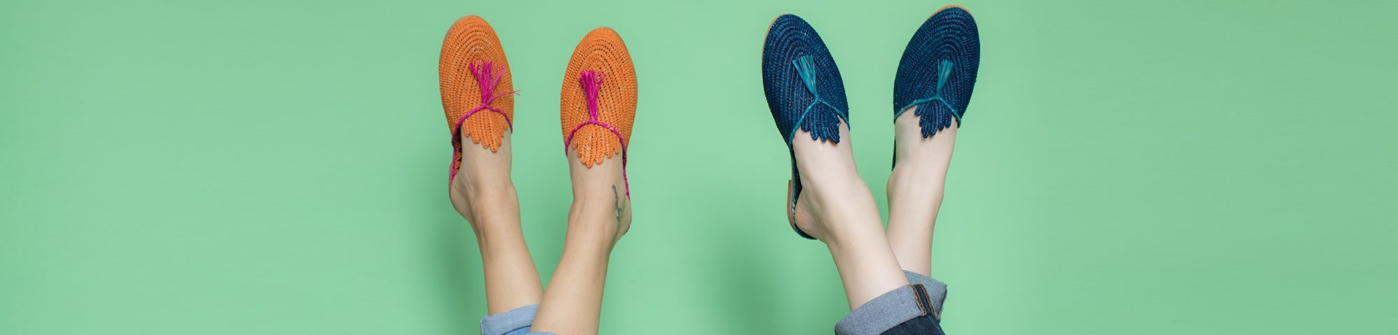 Fair trade raffia summer slippers by ABURY